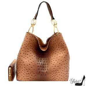 My Bag Lady Online Bags - Jackie Ostrich & Gator Hobo Tote/Wallet (2PC Set)